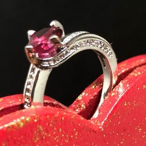 Pink cubic zirconia ring